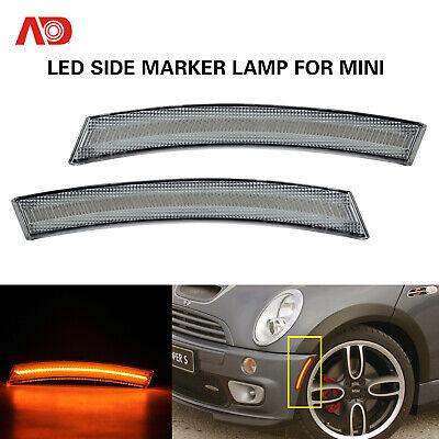 For 02-08 Mini Cooper R50 R52 R53 LED Front Side Marker Light Turn Signal Lamp