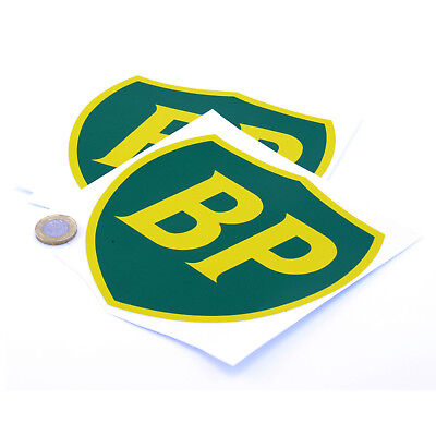 BP OIL 89 On Shield Classic Car STICKERS 150mm x2 Sports Racing decals Petrol