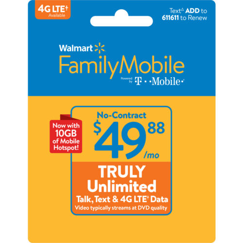 Walmart Family Mobile $49.88 TRULY Unlimited Monthly Plan Direct Refill