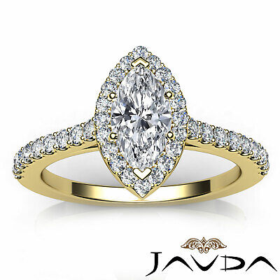 Halo French Pave Set Marquise Diamond Engagement Anniversary Ring GIA H VS1 1Ct 3