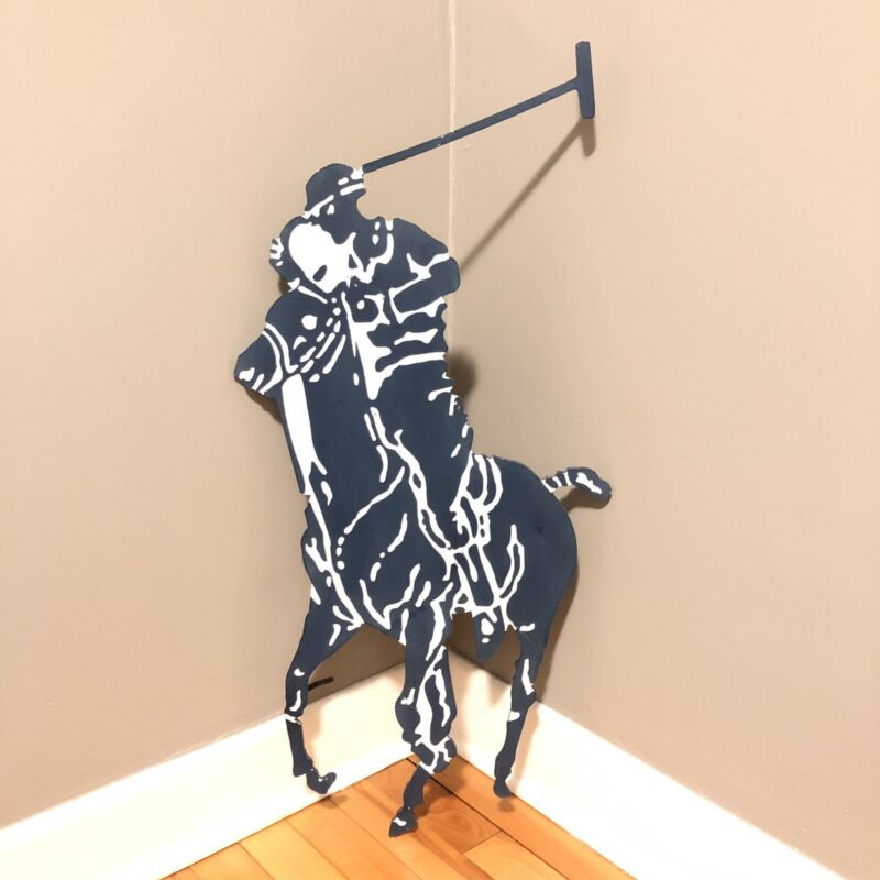 "Rare Vintage 90s Polo Ralph Lauren Metal Store Display Sign Huge 33"" Pony Jockey"