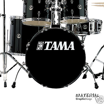 - 2x Tama Logo Sticker Decal - fork bass drum Head Drums kit Percussion Skin car