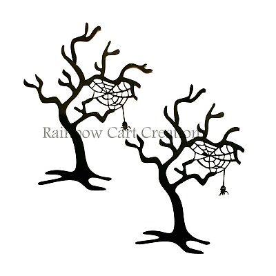 Halloween Tree Silhouette (4-12 Halloween Web Tree Die-Cuts Embellishments Silhouette Cutout Card)