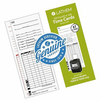Lathem Universal Payrolljob Time Cards Double-sided For Lathem 7000e 750...