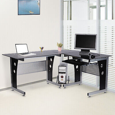 Glas Modern Schreibtisch (Computertisch Eckschreibtisch PC Tisch Bürotisch mit Sicherheitsglas)