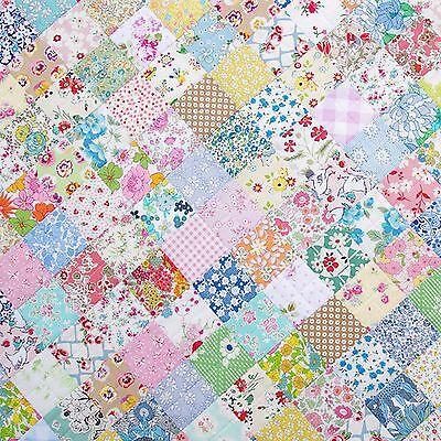 Dollhouse Miniature Blue & Pink Vintage Patchwork Quilt Computer Printed Fabric