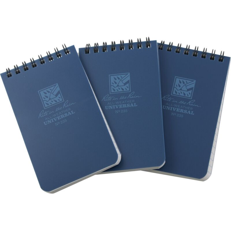 "Rite in the Rain Top Spiral Notebook 3"" x 5"" Blue All Weather 3 Pack"