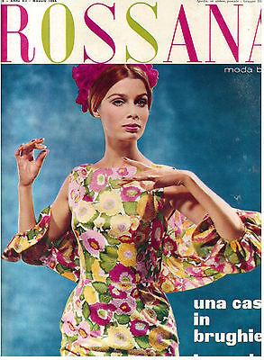 ROSSANA MODA BAZAR N. 5 ANNO VII MAGGIO 1964 RIVISTA FASHION MAGAZINE VINTAGE