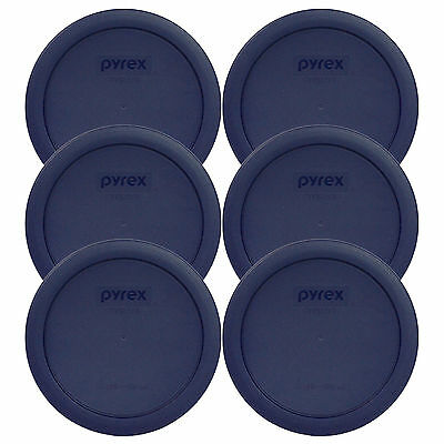 Bulk Glass Cups (Pyrex 7201-PC Round 4 Cup Storage Lid Cover Blue 6 Pack New for Glass)