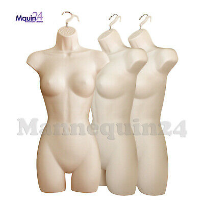3 Pack Flesh Female Mannequin Dress Forms W Hangers - Women Hanging Torsos