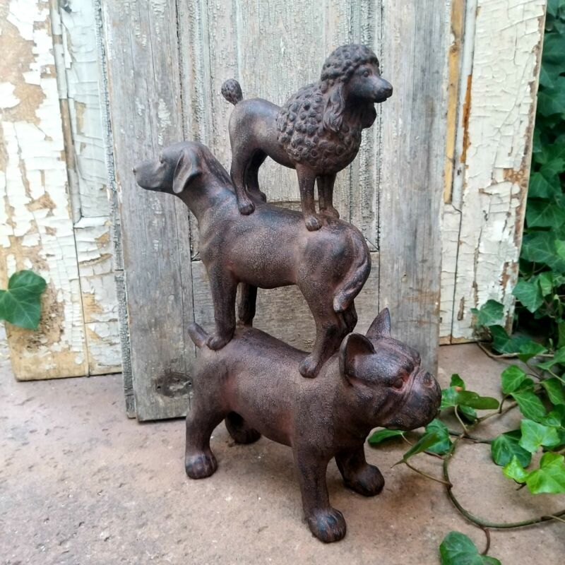 Resin Stacked Bulldog Poodle and Lab Dog Figurine Statue