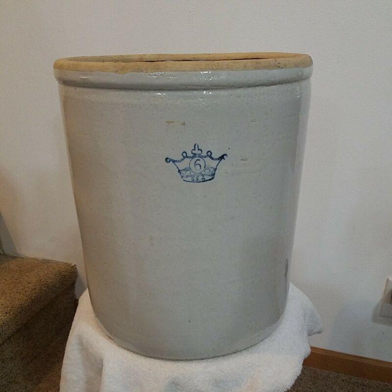 Vintage Blue Crown 6 Gallon Salt Glazed Crock