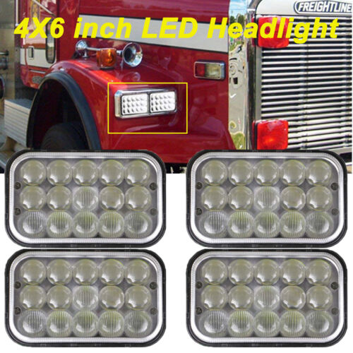 "4""X6"" CREE LED Headlight High Low Beam 4PCS for Peterbilt Kenworth Freightliner"