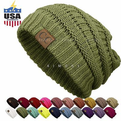 (Bubble Knit Slouchy CC Baggy Beanie Oversize Winter Hat Ski Cap Skull Women)