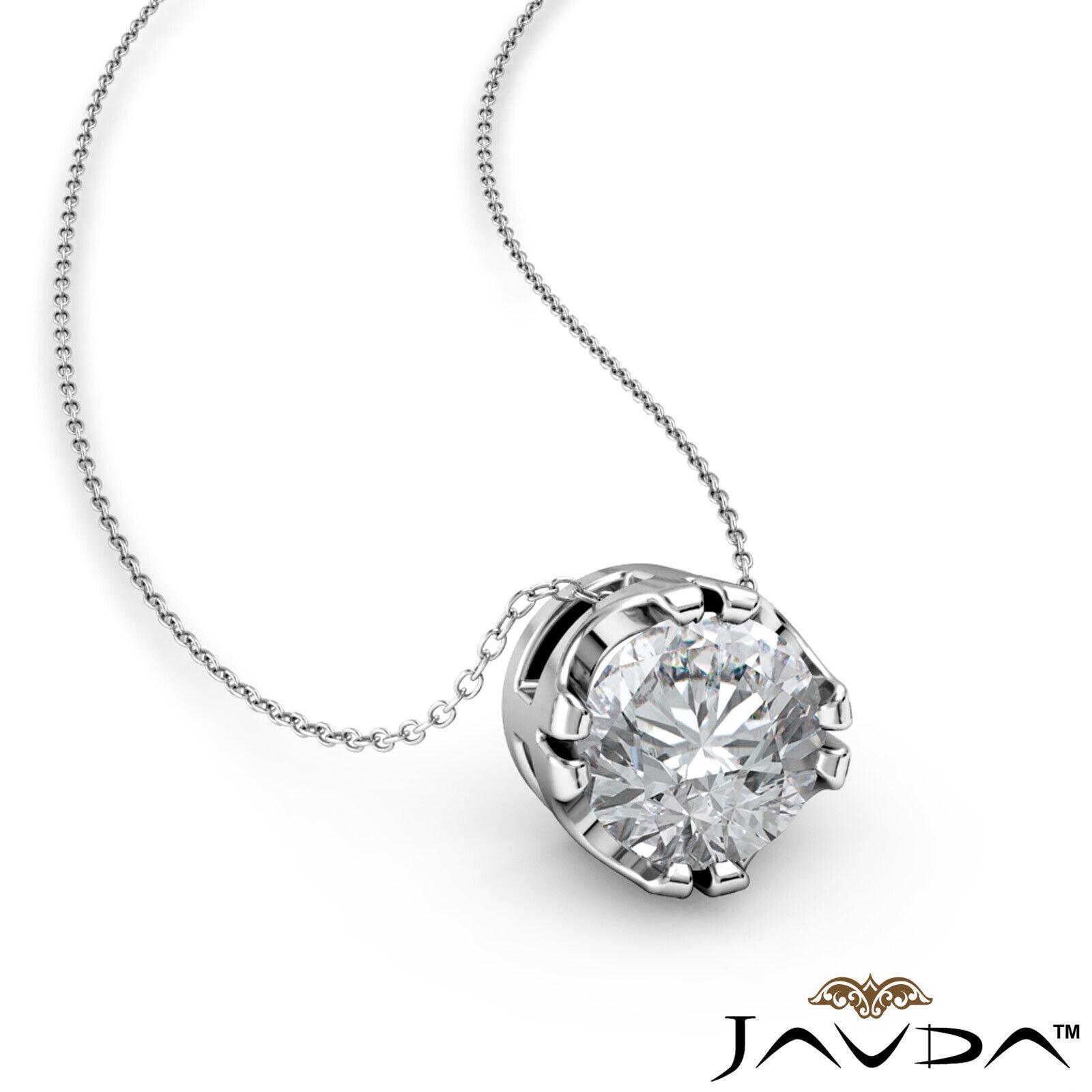 Solitaire Round Shape Diamond Double Prong Pendant 18 Inch Rolo Chain 0.26 ctw.