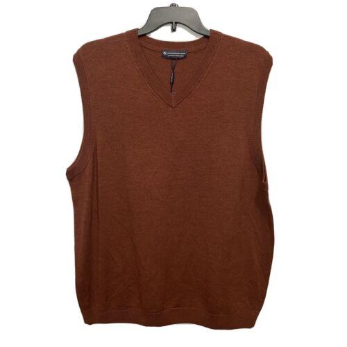 Hart Schaffner Marx V-Neck Sweater Vest 2XLT 2XT Russet Brown Merino Wool Clothing, Shoes & Accessories