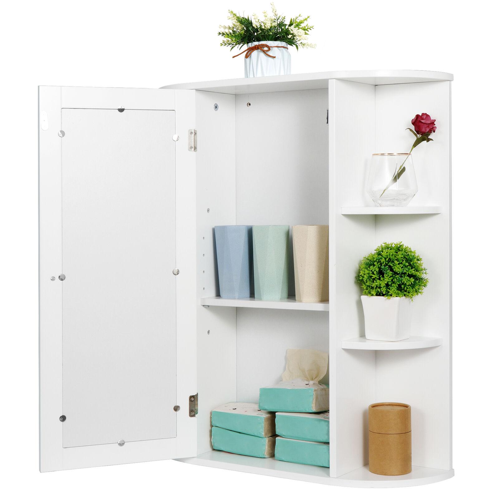Modern Bathroom Cabinet Storage Organizer Single Door Wall Mount with Mirror Bath