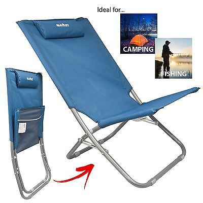 Summit Relaxer Folding Maderia Sun Lounger Lightweight Camping Beach Chair Blue