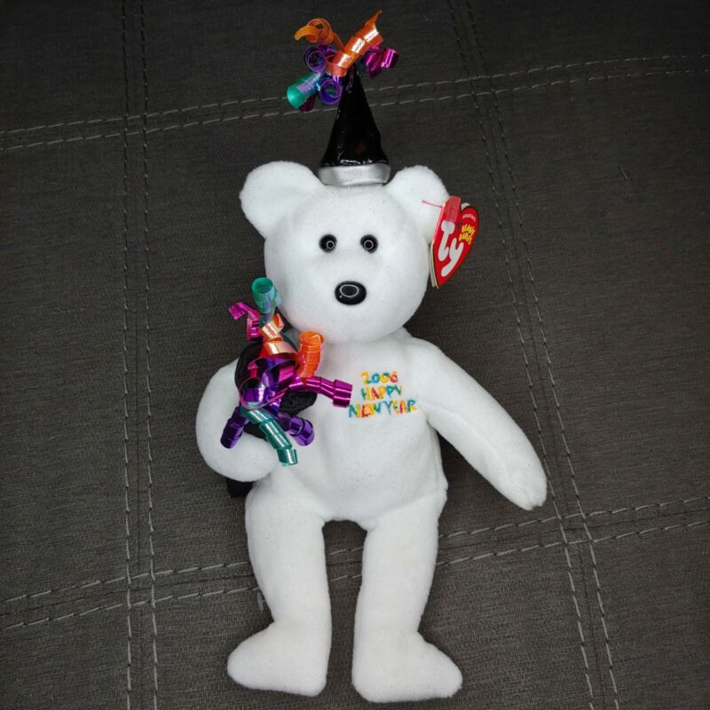 TY Beanie Baby 2006 Happy New Year Bear December 31, 2005 New With Tags