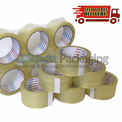 6 Rolls of LOW NOISE CLEAR TAPE 48mm x 66M LONG LENGTH PACKING PARCEL TAPE