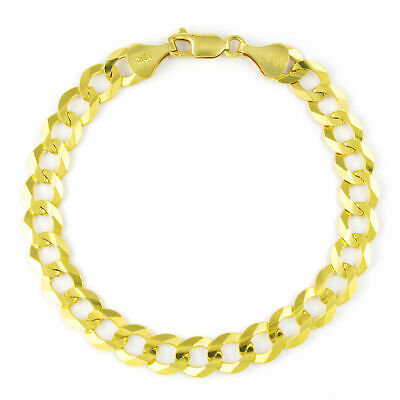 10K Yellow Gold Solid 8mm Mens Cuban Curb Chain Link Bracelet Lobster Clasp 8""