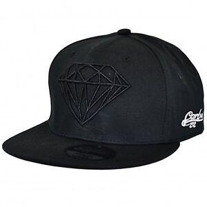 New All Black Diamond Design Flat Peak Snapback Baseball Cap