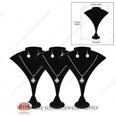 3 Necklace Earring Pendant Jewelry Display Black Velvet Display Stand Jewelry   -