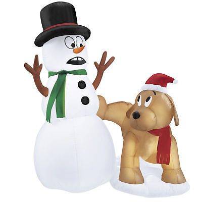 4 Ft. Snowman And Peeing Dog Christmas Inflatable
