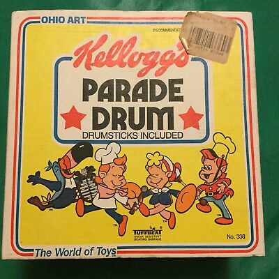 Vintage 1983 Ohio Art / Kelloggs Cereal Character Tin Toy Drum, Rice - Cereal Characters