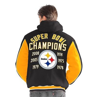 Pittsburgh Steelers 6 Time Super Bowl Champions 1St Class Varsity Fleece Jacket