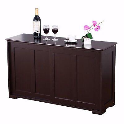 Kitchen Island Server Storage Cabinet Wood Cupboard Portable Counter Espresso