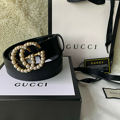 Gucci Black leather belt with pearl Double G Size 105 Cm