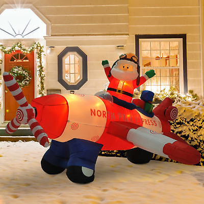 8'L Christmas Inflatable Santa Flying Airblown Plane Animated Yard Decorations