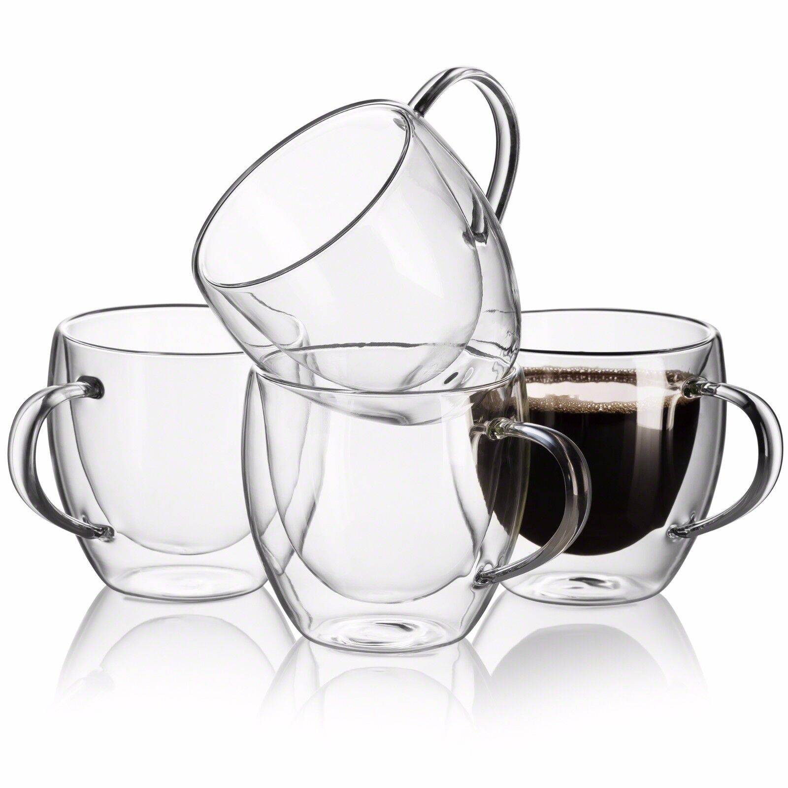 Meway 12oz Coffee Mugs Set Of 4 Clear Glass Double Wall Cup With Handle For For Sale Online Ebay