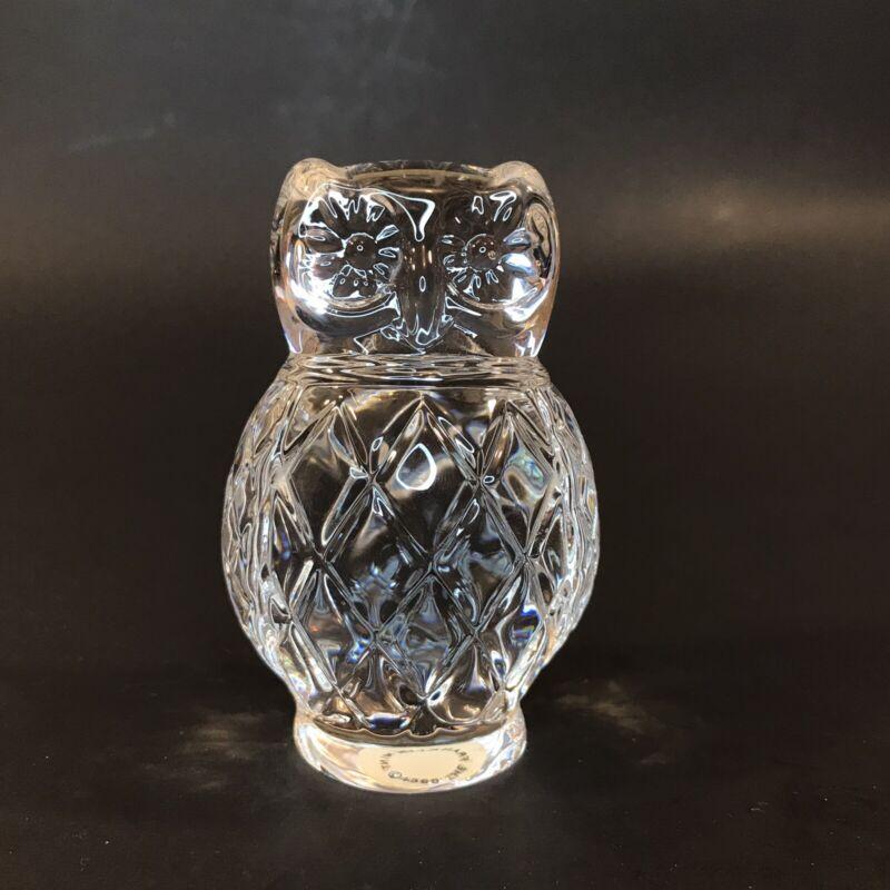 Porcelain Owl Figurine 1988 Franklin Mint Treasury Of Owls Cut Crystal Style