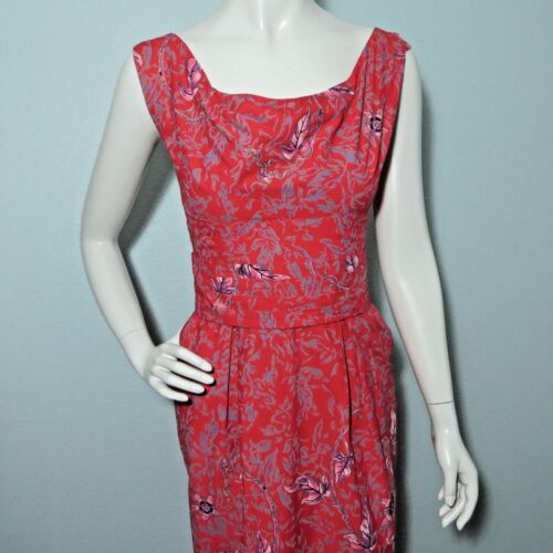 Vtg Kamehameha Pin Up Wiggle Dress 1950s Hawaiian Floral XS Red