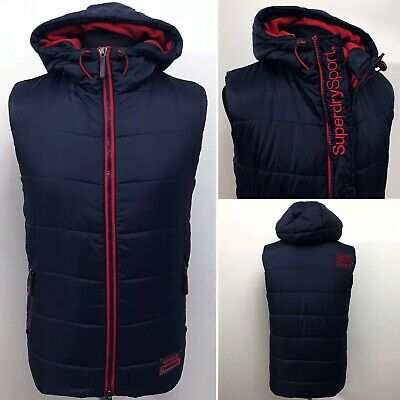SUPERDRY Sport OuterWear Size Small Men's Navy Blue Padded Gilet Bodywarmer