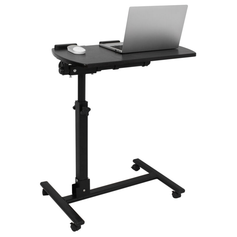 Rolling Height Angle Adjustable Laptop Sofa Desk Overbed Food Tray Table Stand