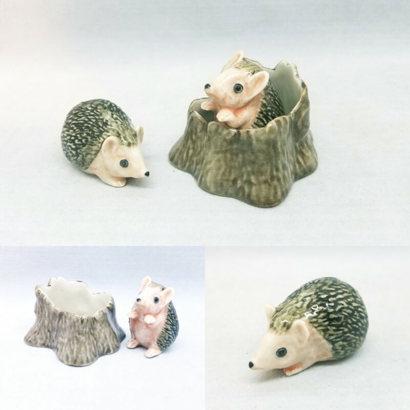 Hedgehog With Tree Stump Ceramic Figurine Miniature Animal Statue Animal Decor