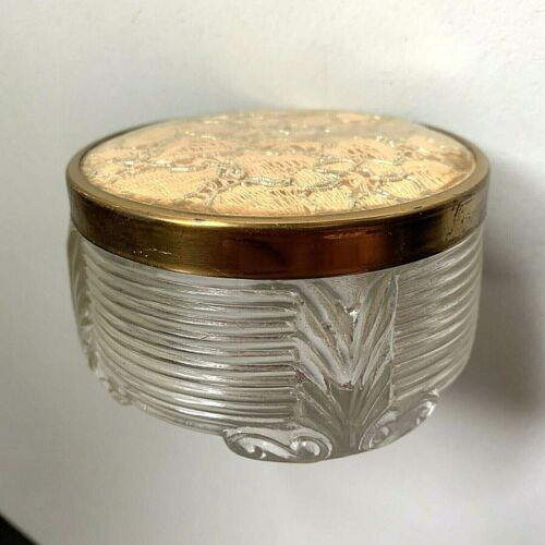 Vintage Art Deco Style Cosmetic Powder Hairpin Glass Small Jar with Lid