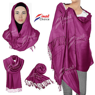 New high quality 100%pashmina  SATIN shawls bride  wedding scarf hijab