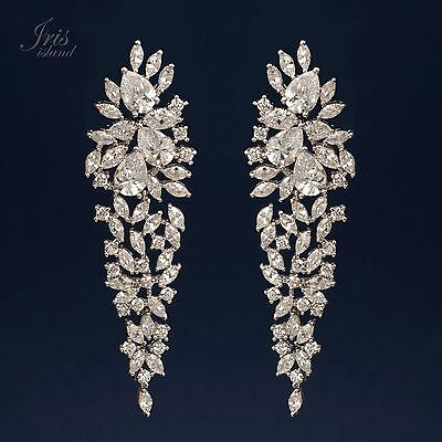 - White Gold Plated Cubic Zirconia CZ Wedding Bridal Drop Dangle earrings 0711 New
