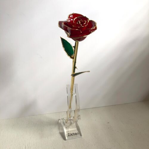 ZJChao 24kt Gold Dipped Real Preserved Red Rose Long Stem Valentines Gift Stand