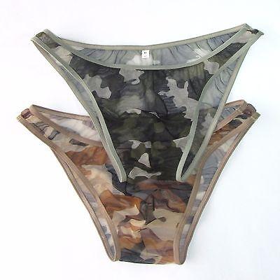 K3780 Sexy Mens Underwear Briefs Bikini C-thru Mesh Camo Camouflage print ()