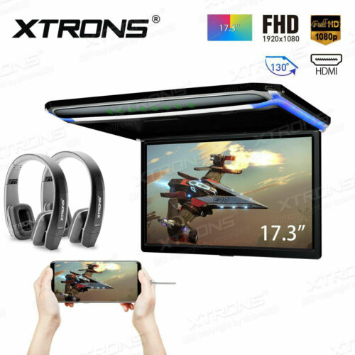 "17.3"" Car  Roof Overhead Flip Down Monitor HDMI/USB/SD Game 1080P + 2Pcs Headset"
