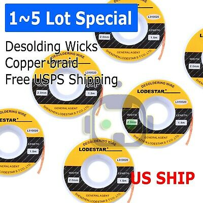 2.0mm Desoldering Braid Wick Solder Remover W No Residue Rosin Flux 5 Ft