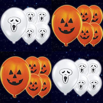 5x LIGHT-UP Pumpkin Ghost illoom Balloons LED Halloween Decorations Genuine Glow