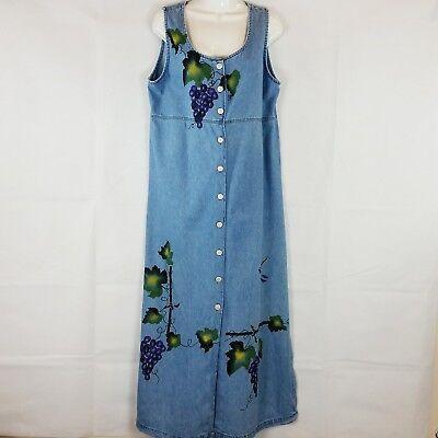 Vintage Apache Womens Denim Jumper Dress Sz XL Blue Grapevines Hand Painted  - Apache Attire