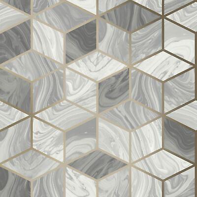 Mármol Geométrico Diamantes Gris 248975 Rasch Pintado - Metálico Hexágono Cubos