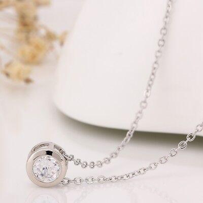 Damen Halskette Zircon Party Klar Kette Anhänger Silber 42cm + 5cm elegant  #33